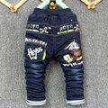 2016 новый зимний прибытие малыш толстые джинсы брюки мальчик и девочка теплые брюки джинсовые НЕТ мультфильм design1-4 лет