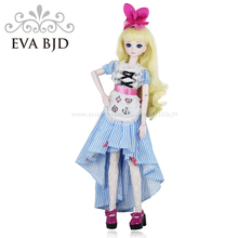 1/4 BJD Doll 45cm 18 jointed dolls Cute Alice doll White Skin ( Free Eyes + Hair + Makeup + Clothes + Shoes ) EVA BJD DA002-01