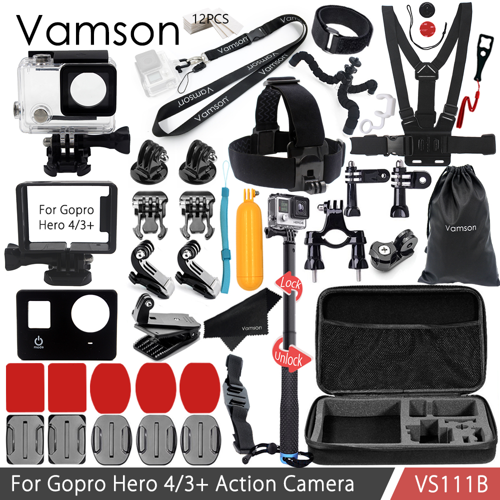 Vamson For Gopro Accessories Kit for  Gopro Hero 4/3+ Waterproof housing case/Standard Frame silicone case Neck Strap VS111B camera frame soft silicone case cover protective frame for gopro hero 5 action camera accessories purple