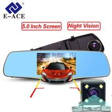 E-ACE Видеорегистраторы для автомобилей Full HD 1080 P 5.0 дюймов авто Камера Зеркало заднего вида с Двойной объектив видео регистратор Регистраторы Ночное видение регистраторы