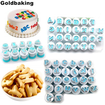 62PCS Alphabet Number Biscuit Mold Lowercase Uppercase Letter Cookie Stamp Embosser Cookie Cutter Fondant Cake Decorating Tool