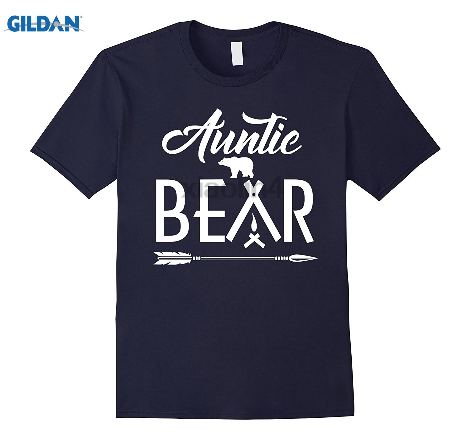 GILDAN Aunt shirt Auntie Bear T-shirt New 2018 Mens Hot Fashion Short-Sleeved Rider T-Shirts Hot Womens T-shirt