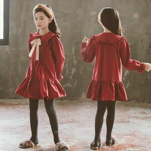 Image 2 - 女の子 2020 秋冬新子供綿ドレスベビープリンセスドレス綿幼児のドレス気質弓、 #5314
