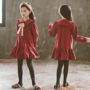 Image 2 - Girls Dress 2020 Fall New Children Cotton Dress Baby Princess Dress Cotton Toddler Dresses for Girls Temperament Bow,#5314