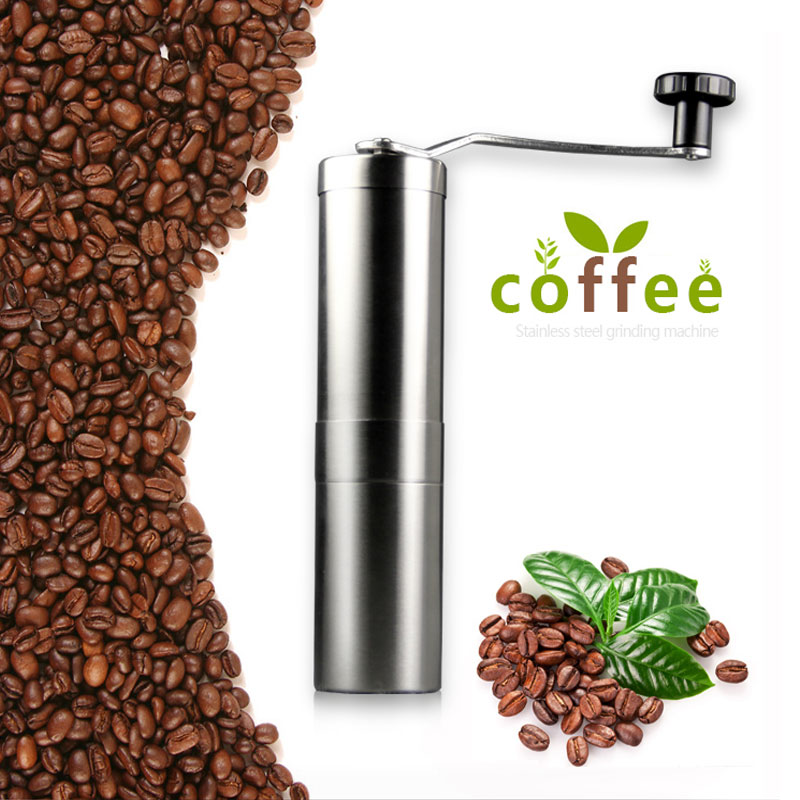 Coffee Bean Grinder Silver Stainless Steel Hand Manual Handmade Coffee Bean Grinder Mill Kitchen Grinding Tool 30g 4.9x18.8cm stainless steel cuticle removal shovel tool silver