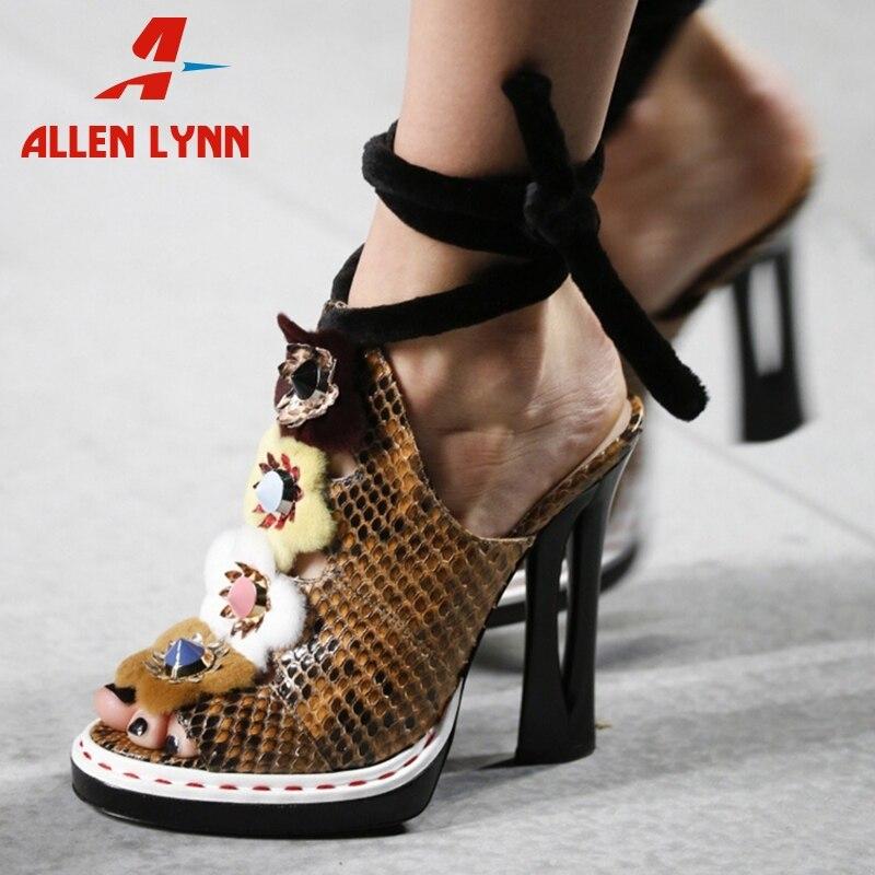 ALLENLYNN marque de luxe Design défilé femmes sandales été grande taille 34-43 en cuir véritable femmes chaussures femme talons hauts