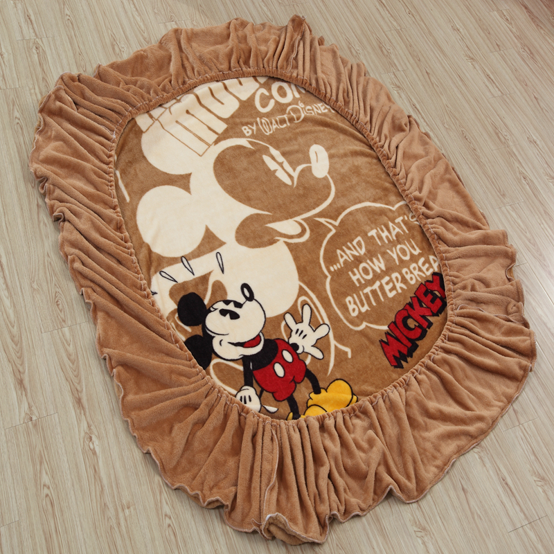 Disney Mickey Mouse Flannel Fitted Sheet with Elastic Band Bed Sheets Linen Bedspread Polyester Mattress Cover