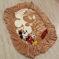 Disney Mickey Mouse Flannel Fitted Sheet with Elastic Band Bed Sheets Linen Bedspread Polyester Mattress Cover Single Twin Full