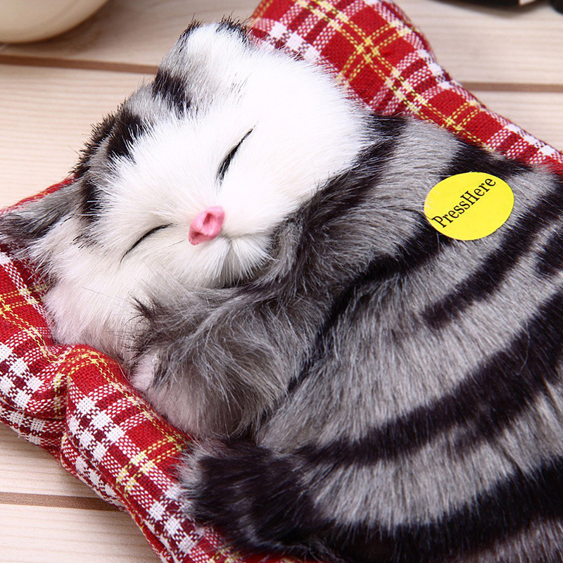 Simulation Plush Sleeping Cat Mew Sound Plush Catty With Cushion Kids Soft Plush Toy Stuffed Animals