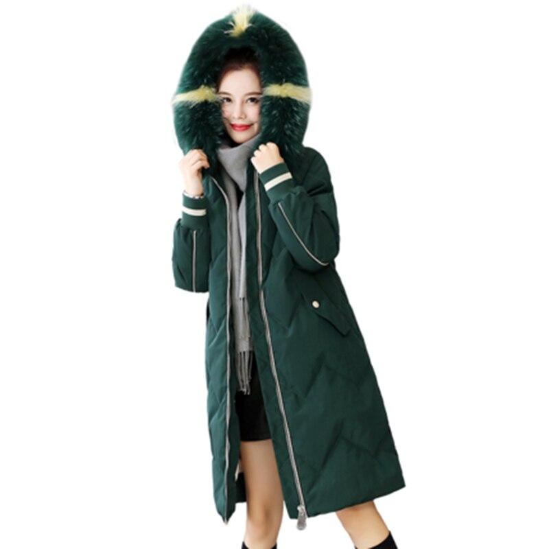 90% White Duck   Down     Coats   Women Fashion Big Fur Collar Hooded Long Thicken Jackets Female Loose Casual   Down     Coats   FP1701