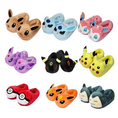 Anime Pokemon Slippers Elf Ball Pikachu Eevee Umbreon Go Plush Shoes Home House Winter Slippers Cosplay Shoes