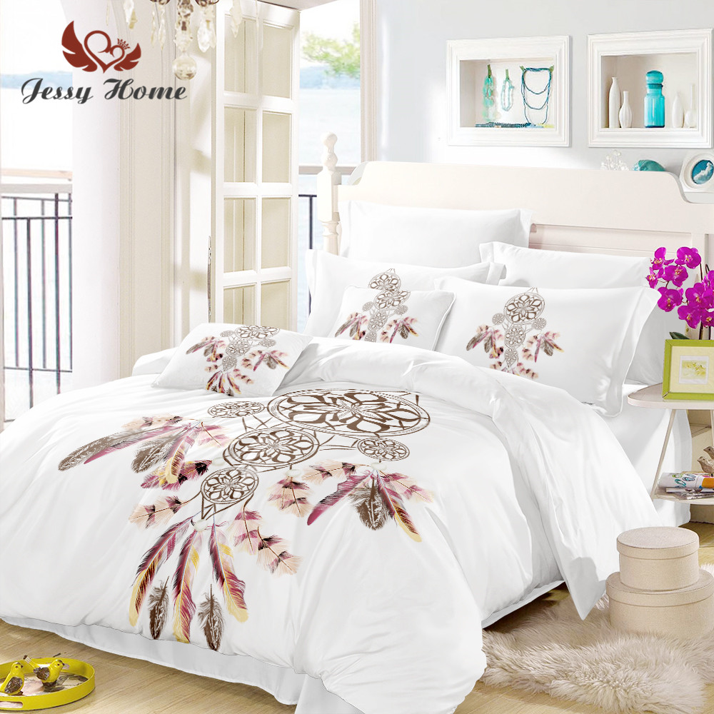 White Duvet Cover Queen Us 61 22 Dream Catcher Bedding Set Queen White Duvet Cover Set 3pcs Luxury Printed Soft Bedclothes Us Au Ru Size 3 Pcs M845 In Bedding Sets From