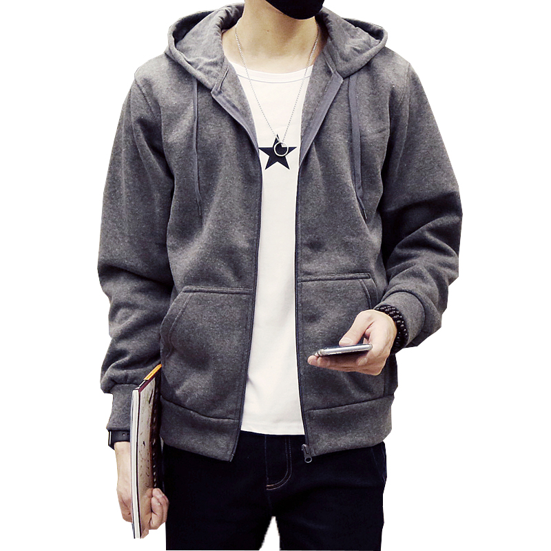 Spring New Direct Selling Standard Stand Regular Solid Full 2017 Men's Sweatshirts Fashion Zipper Drawstring Free Shipping