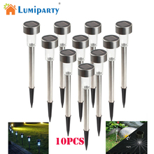 cheap Lumiparty Hot 10 pcs Stainless Steel LED Solar light Outdoor Landscape Path Garden Light Solar Garden lamp lantern,image LED lamps deals