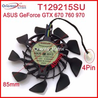Free Shipping T129215SU 12V 0.5A 85mm For ASUS GTX670 GTX760 DCMOC 2GD5 GTX 970 Mini Graphics Card Cooler Cooling Fan