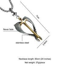 Christian Jewelry Stainless Steel Silver Angel Wings Cross Necklace