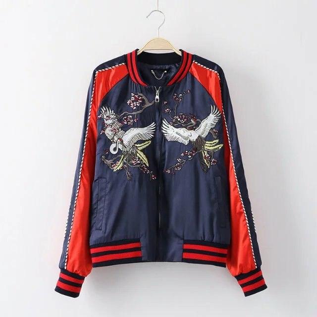 Femmes Mince Glissière Nouveau rouge À Fermeture Mode Bleu Casaco Stand Vestes Printemps Col Pour Et Brodé Hommes PrYqAP7