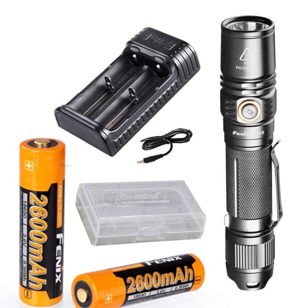 Fenix PD35 V2.0 2018 Upgrade 1000 Lumen Flashlight with 2X 2600mAh Battery,are-X2 Charger,battery case fenix hp25r 1000 lumen headlamp rechargeable led flashlight