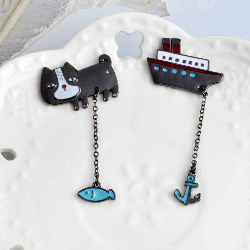 Cute-Cartoon-Cat-Kitten-Fish-Sailing-Boat-Metal-Brooch-Pins-with-Chain-DIY-Button-Pin-Denim(3)