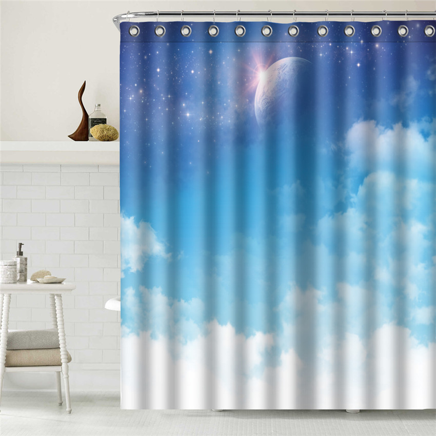 WONZOM Sky Cloud Shower Curtain Waterproof Moon Bathroom Modern Bath With 12 Hooks Accessories For Home Decor In Curtains From