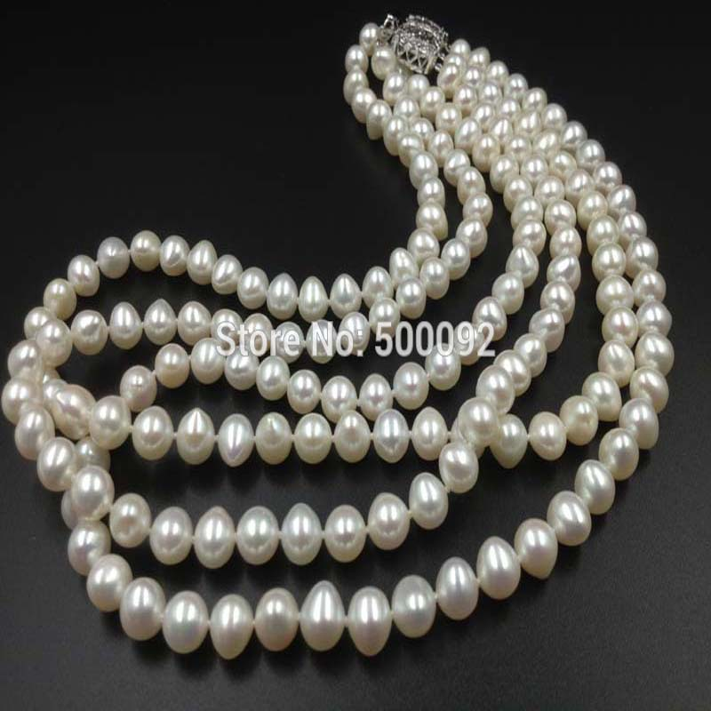 AA 171819 3rows white Freshwater cultured Pearl NecklaceAA 171819 3rows white Freshwater cultured Pearl Necklace