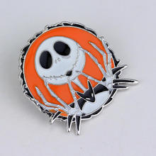 Hot Sale The Nightmare Before Christmas Skull Jack Skellington Brooch Pins Enamel Pin Badge Broches for Halloween Christmas Day