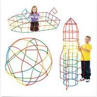 100 pçs 4d diy espaço palha montado diy criativo tijolo crianças blocos cedo educacional bloco de construção brinquedo conjunto