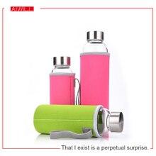 AIWILL Venta Caliente De Vidrio Botella de Agua Del Deporte Con Bolsa de Protección 280 ml/360 ml/550 ml Botellas de Bicicleta de Frutas Al Aire Libre de Alta Qualtiy