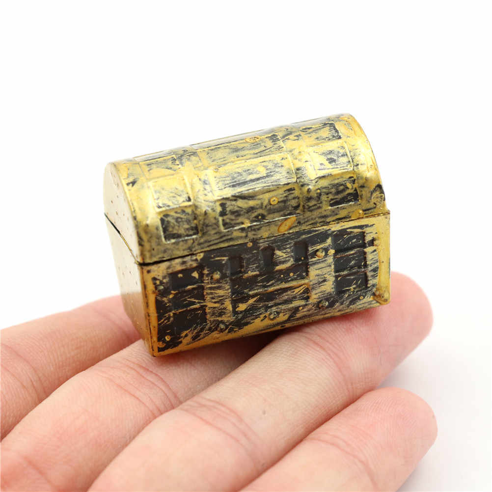 2Pcs Dollhouse Miniature Vintage Treasure Box Mini Pirate Jewelry Box Case Doll House Accessories Kids Play Toys