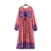 2018 Boho Style Long Dress Women Baggy Deep V Neck Sexy Beach Summer Dresses Vintage Ethnic