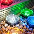 Solar Power LED Ground Crystal Glass Ice Brick Shape White Outdoor Yard Garden Deck Road Lamp Light