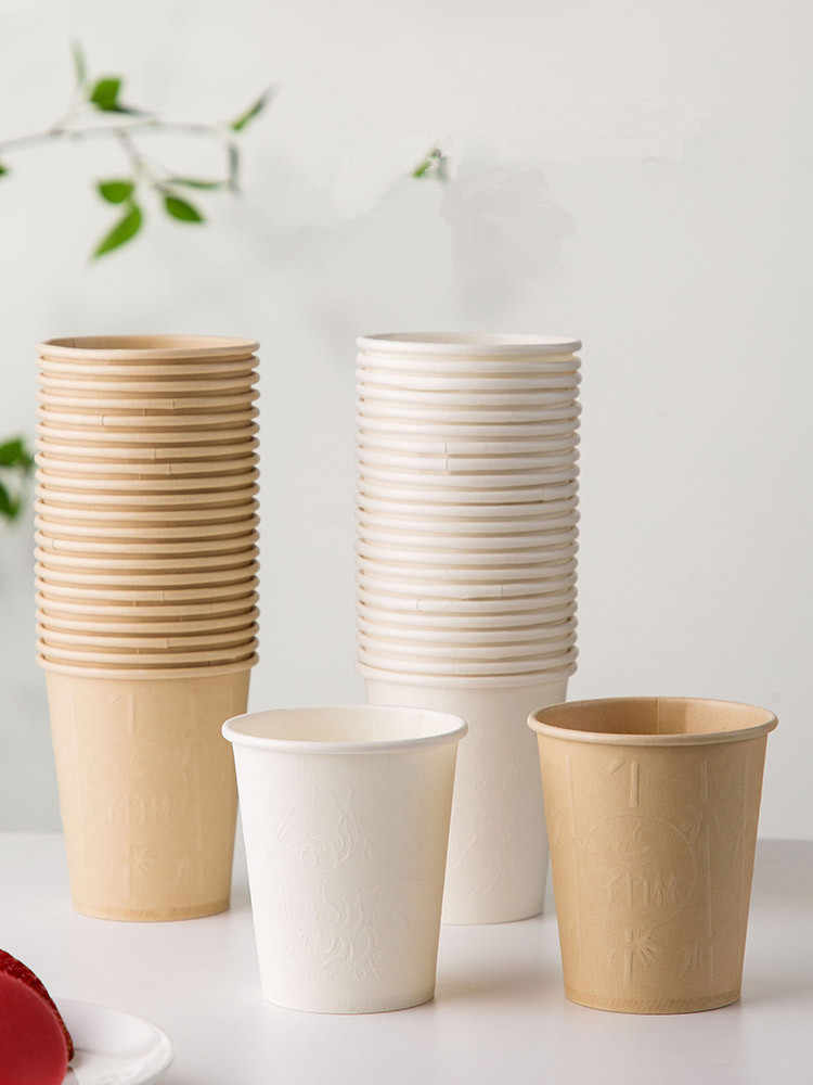 40/50pcs/pack High Quality Bamboo Fiber Household Paper Cups Disposable Coffee Cup Tea Cup Party Supplies