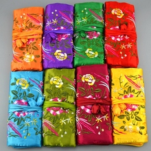 Jewelry Roll Travel 30pcs/lot Mix Color 9*6.3 inch Silk Embroidered Three Zipper Drawstring Pouch