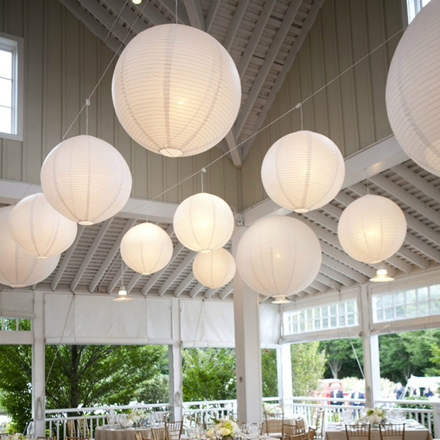 20pcs/Lot Mixed Size (20cm,30cm,35cm,40cm) White Paper Lanterns Chinese Paper Ball Lampions For Wedding Party Decoration New