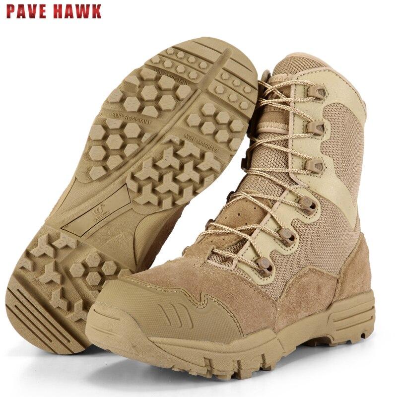 PAVE Hawk calidad marca sneakers cuero senderismo zapatos hombres al aire libre deportes Caza Militar trekking mujer Pesca botas tácticas