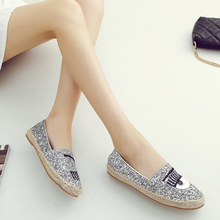 2016 spring autumn high quality casual shoes women flat European Eye Embroidery Hemp Fisherman Shoes Flat Glitter Slip On Silver