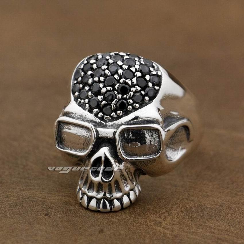 Black CZ Stones 925 Sterling Silver Pilot Skull Mens Biker Rocker Punk Ring 9D003Black CZ Stones 925 Sterling Silver Pilot Skull Mens Biker Rocker Punk Ring 9D003