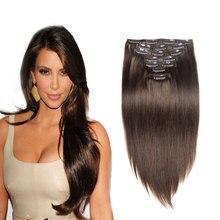 Full Head 7PCS 120G Clip In Human Hair Extensions Dark Brown #4 Straight Brazilian Virgin Human Hair Clip In Hair Extensions