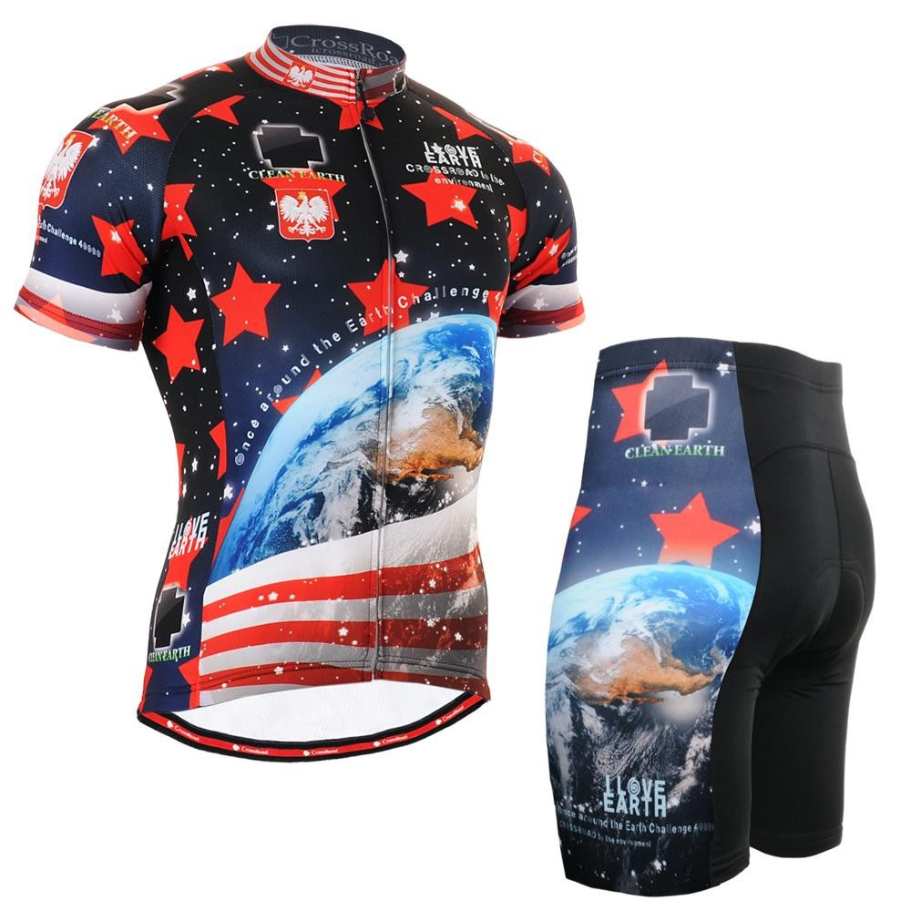 ФОТО Mens Bike Clothings Sets Bike Short Sleeve Cycling Jerseys Love Earth Personalized Unique Print Mountain