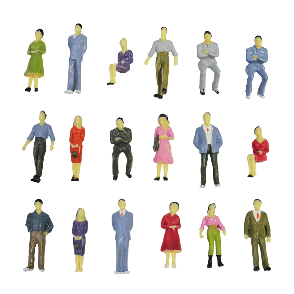 Model Toy Colorful Villain 3.5 Cm 1/50 Scale Model Person Building Train Station Posture Sitting Posture Mixed Color Person