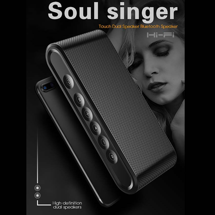 DOITOP Portable Bluetooth Touch Dual Speaker Subwoofer Wireless Stereo Music Surround Super Bass Hifi Speaker with Mic TF <font><b>Card</b></font>