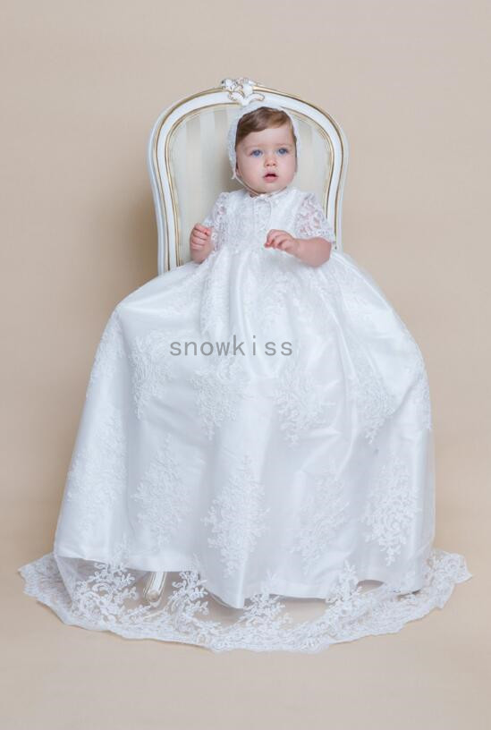 2016 New Half Sleeves Lace Baby Girl White/Ivory First Communion Dresses Christening Gown Baptism Dress With Bonnet 2016 appliques lace baby girl white ivory a line first communion dresses christening gown baptism dress with bonnet and cape