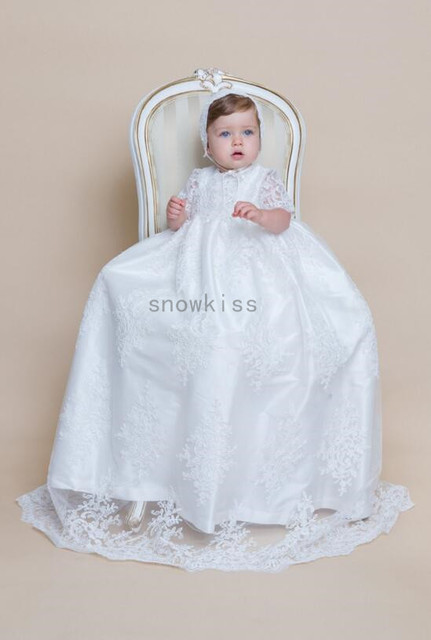 1d418c157e52 2016 New Half Sleeves Lace Baby Girl White Ivory First Communion Dresses  Christening Gown Baptism