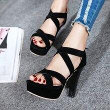 Open Toe 10cm Block Heels Platform Sandals Woman 2018 High Heel Gladiator Sandals Women Summer Sandal Ladies for Office