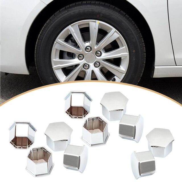 10 piezas Hexagonal rueda tuerca cubre pernos cubre tornillo proteger tapas para Peugeot 307, 308, 408, 206, 207 C4L c5 (plata)