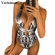 DIY Long Strap wrap around 2018 Women Swimwear One Piece Swimsuit Female Bather Leopard Printed Bathing Suit Swim Lady V852(China)