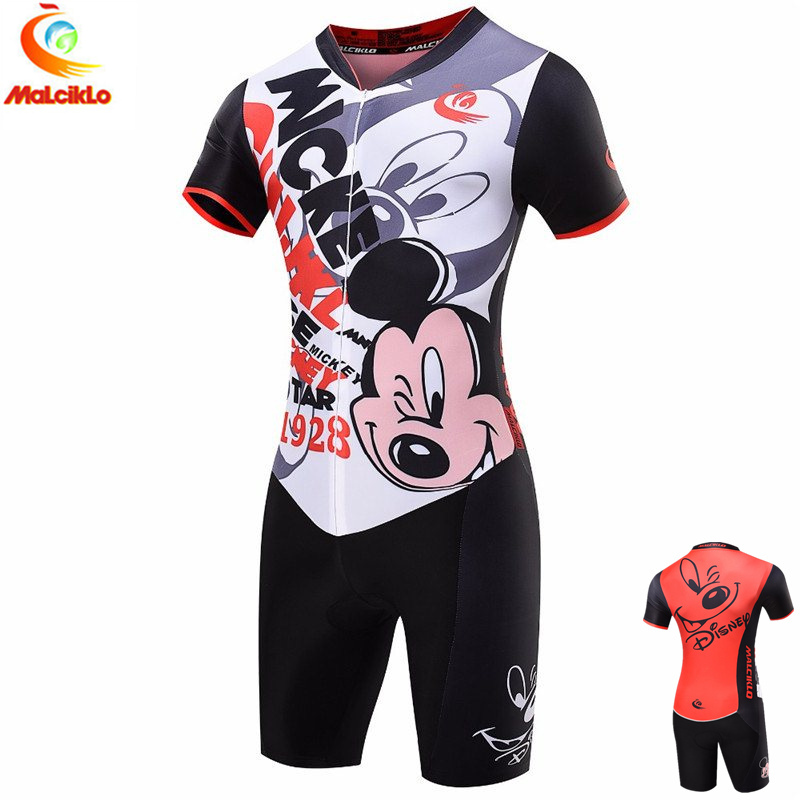 Red Mickey Mouse Pro Triathlon Suit Women s Cycling Jersey Maillot Cycling Sets Bike Clothing Skinsuit