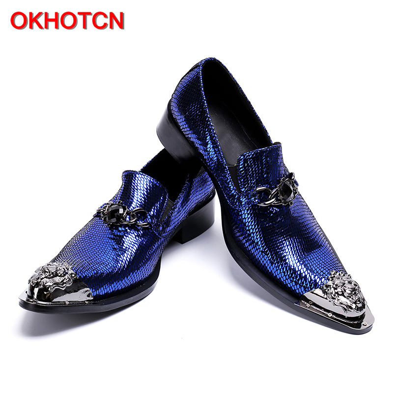 Schuhe Schuh Metall Kleid Slip Kappe Blau Hochzeit Decor Herren On Lederne Echte Leder Wohnungen Männer Mode Business qZ1IZRBw