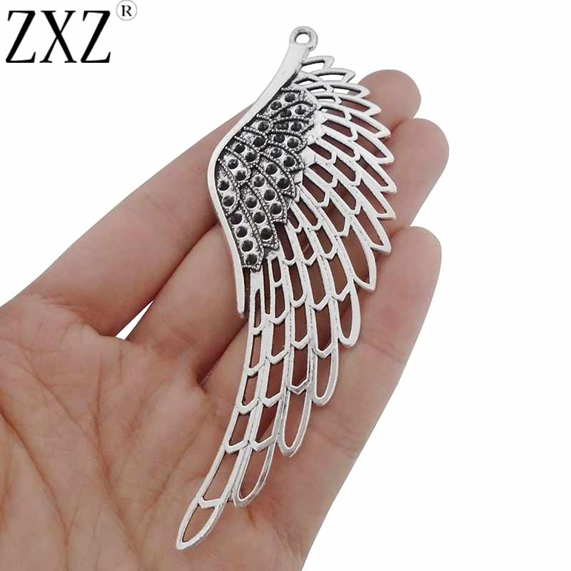 5Pcs Antique Silver Open Heart Feather Shaped Charms Pendants Jewelry Findings