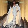 Elegante Trompeta 2016 Nueva Sexy Blanco Brillante Capa de Satén Moldeado de La Sirena Vestidos de Baile de Noche Largo Vestido de Fiesta vestido de festa